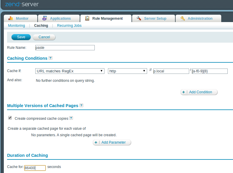 Zend Server Page Caching